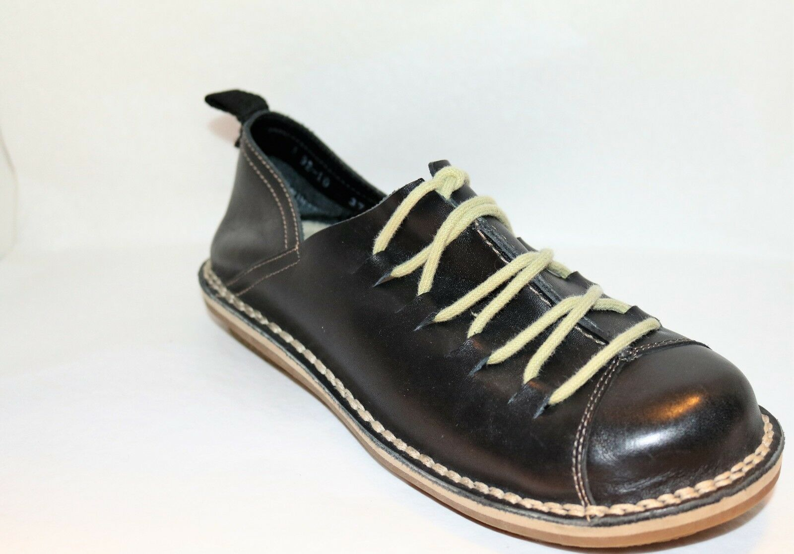BARCODE CAMP FIRE Brand Black Leather Lace Up shoes Size 37 LIKE NEW
