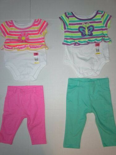 Floral 2-Piece Set 3-6 6-9 12 Month Baby Girls Bodysuit /& Jeggings Butterfly