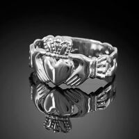 White Gold Men's Claddagh Ring With Trinity Band (usa)