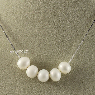 interesting 925 chain 6-7mm saltwater Choker Sliding  pearl pendant necklace 18""