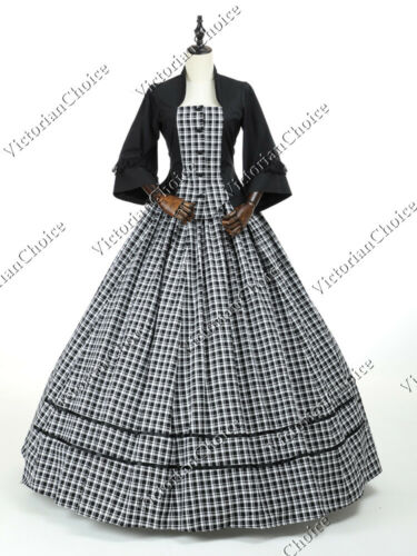 Victorian Dresses | Victorian Ballgowns | Victorian Clothing    Civil War Victorian Picnic Plaid Prairie Dress Historical Cosplay Theatrical 160  AT vintagedancer.com
