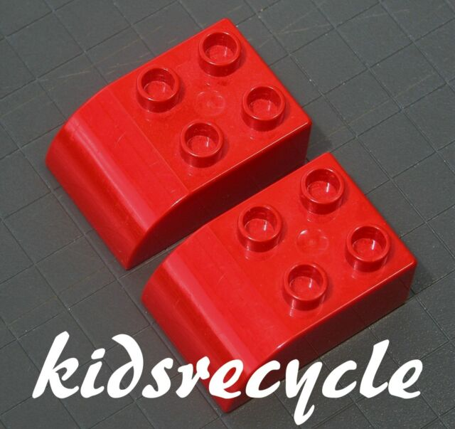 Lego DUPLO Red 2x3 Curved Bricks BLOCKS (2 pieces) Part 2302 (Pick-up Welcome)