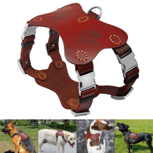 Genuine Leather Dog Harnesses Vest Heavy Duty Soft Adjuatable for Pitbull Boxer