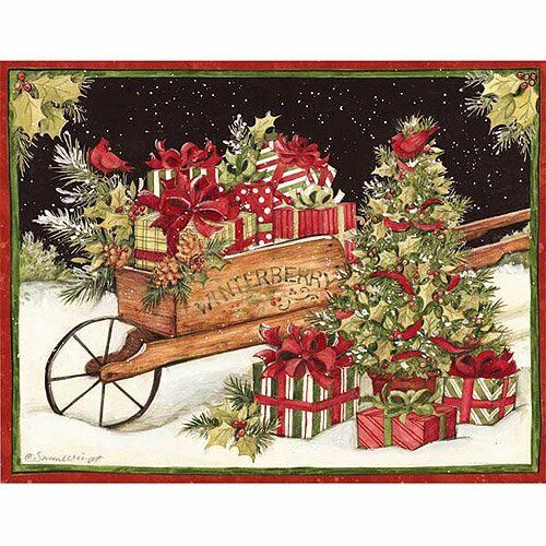 LANG Deluxe Boxed Holiday Cards CHRISTMAS DELIVERY Tree and Gift Present Display