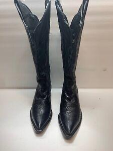 Tony Lama Black Leather Tall Cowboy