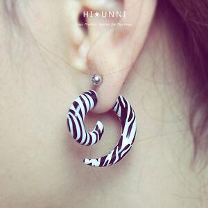 Image Is Loading 16g Zebra Spiral Fake Ear Gauges Men