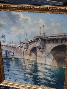 Huile-sur-toile-le-Pont-neuf-a-Paris-Maurice-Alkan-Levy