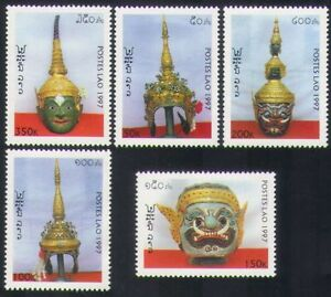 Laos-1997-Masks-Headdresses-Art-Craft-Metalwork-Gold-Carving-5v-set-n35225