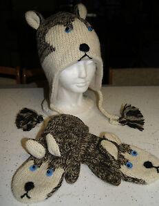 HUSKY HAT & MITTENS SET knit ADULT SIBERIAN sled dog huskies LINED mens womens