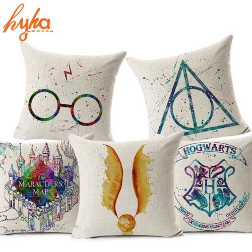 Cover Cushion Throw Pillow Case Cotton Linen Home Sofa Decor Harry Potter Design