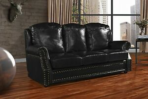 Pleasing Details About Classic Leather Fabric Sofa 3 Seater Living Room Couch W Nailhead Trim Black Ocoug Best Dining Table And Chair Ideas Images Ocougorg