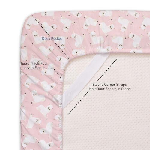 Llamas Kids Sheet Set Pink White Twin Twin XL Full