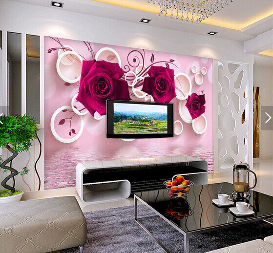 3D pink Circle 611 Wallpaper Murals Wall Print Wallpaper Mural AJ WALL AU Kyra