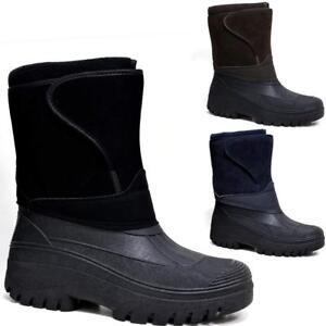 MENS BLACK SNOW BOOTS WATERPROOF MUCKER THERMAL WELLINGTONS FUR SKI WINTER BOYS