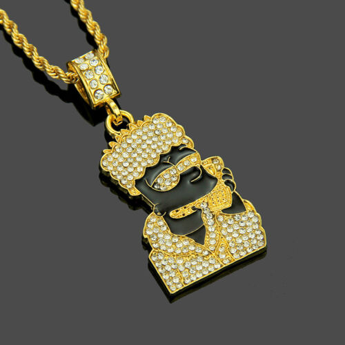 Fashion Crystal Pendant Bart Simpsons Necklace Chain Icy Hip Hop Rapper Jewelry