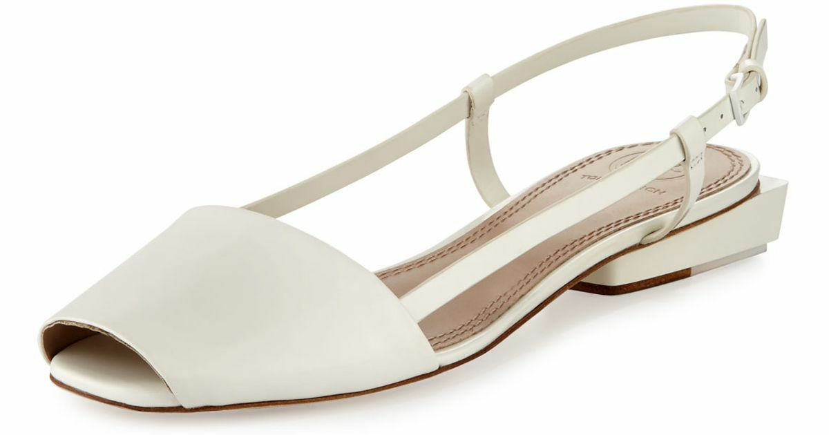 NEW Tory Burch Pietra Patent Leather Runway Flats Sandals Porcelain Weiß 9.5