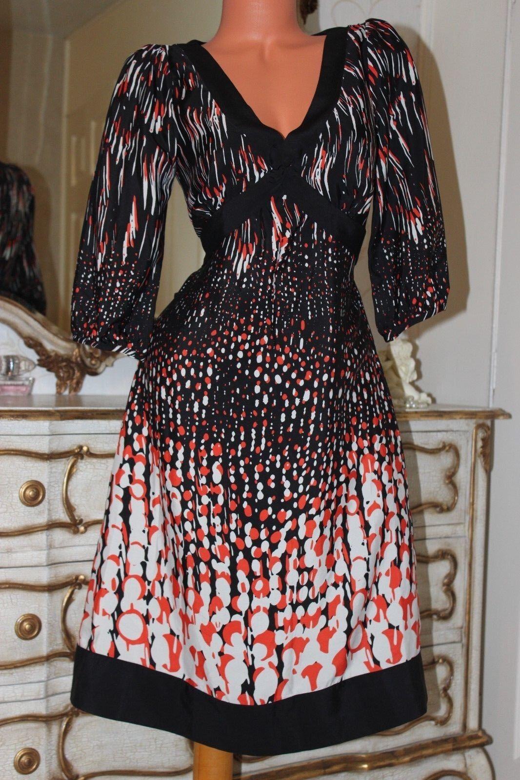 (Ref 4) MONSOON  schwarz Mix Patterned Ladies A - Lined  Dress Größe 10