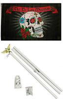 3x5 Dia De Los Muertos Day Of The Dead Flag White Pole Kit Set 3'x5'