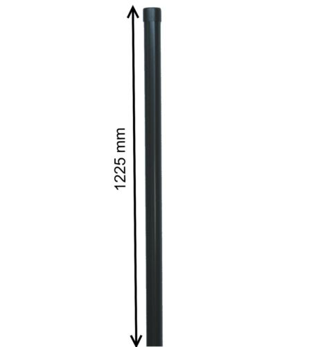 1m Metall-Zaun-Anlage grau anthrazit Schweiß-gitter-draht Zaunpfosten Ø 34 mm f