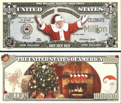 50 HO HO HO CHRISTMAS SANTA HOLIDAY Gift DOLLAR BILLS FAKE-MONEY-NOVELTY-T3