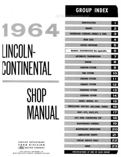 1964 Lincoln Continental Shop Manual