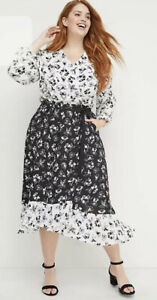 New-Lane-Bryant-Womans-Beauticurve-Mixed-Floral-Wrap-Dress-18-20-24-Retro-NWT