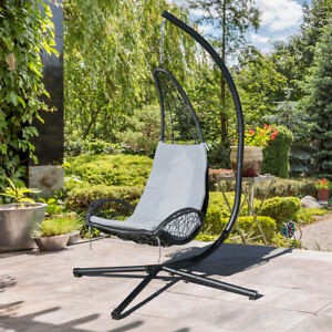 Outdoor Wicker Hanging Lounge Chair, Outdoor Swing Chairs With Stand