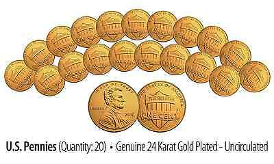 Lot of 20-2016 24K GOLD Plated US Uncirculated Genuine LINCOLN SHIELD PENNIES