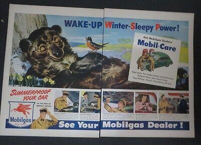 Original 1941 Print Ad Mobilgas Mobiloil Bears Hibernation Dealer 2 Page Art 1940-49 Advertising