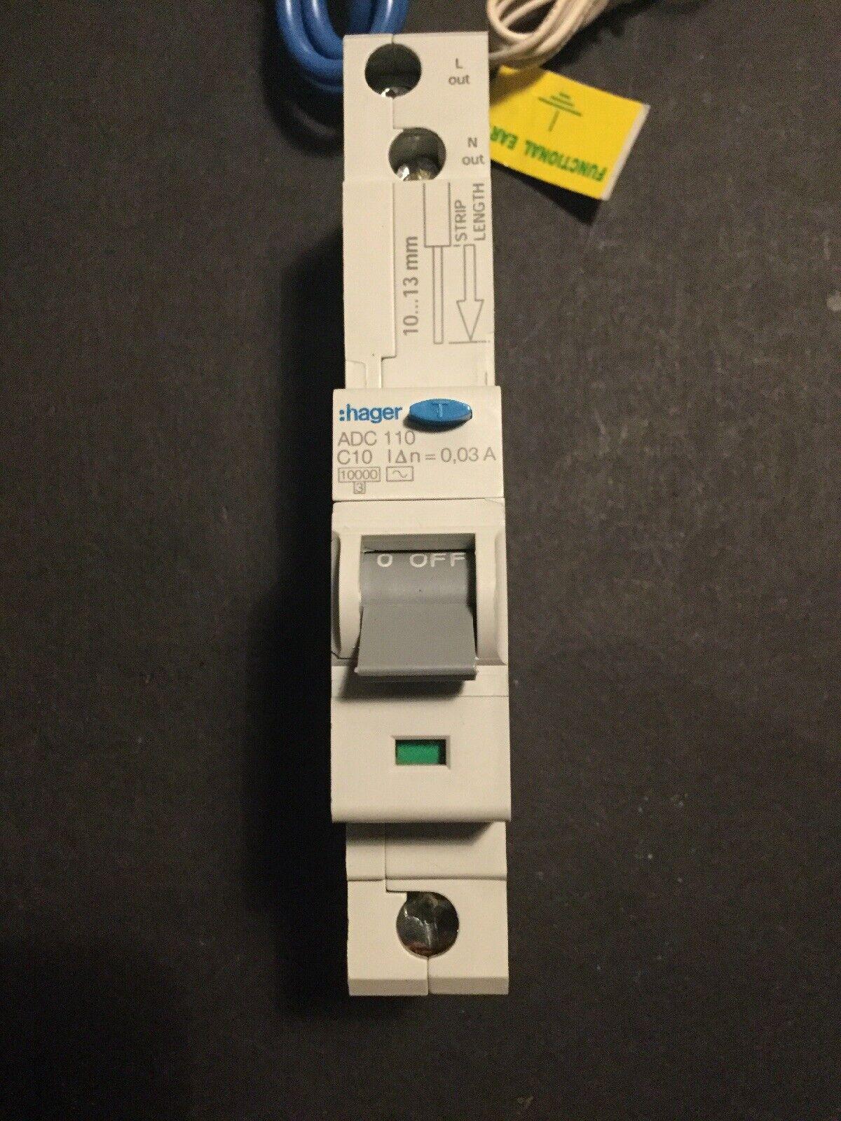 Hager C10 Rcbo 10A 30mA 10kA Type C ADC110