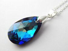 Sterling Silver Swarovski Elements Crystal DROP Pendant Necklace Bermuda Blue UK