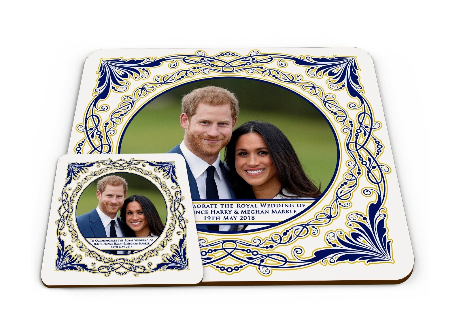 Set of Royal Wedding of HRH Prince Harry & Meghan Glossy Placemat & Coaster