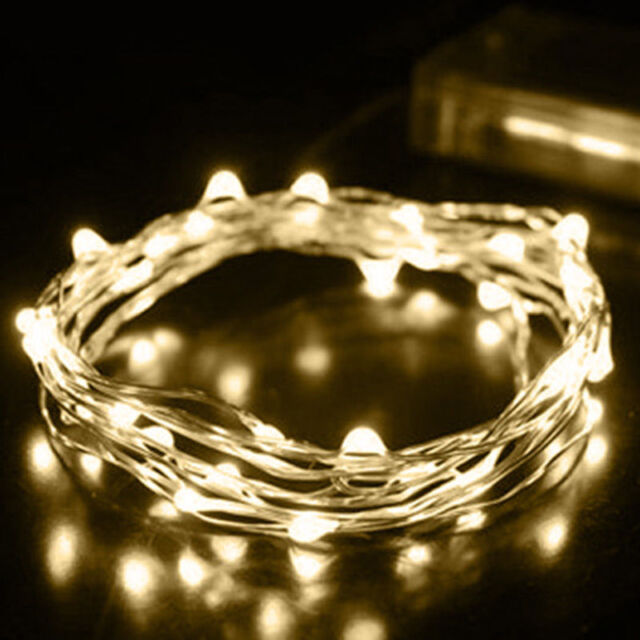 1x 2M 20 LEDs Battery Operated Mini LED Copper Wire String Fairy Lights