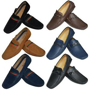 Mens-Slip-Ons-Shoes-Boat-Deck-Driving-Smart-Buckle-Moccasins-Suede-Look-Loafers