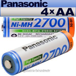 """""""4x Panasonic Akku Mignon Aa 2700mah Hr6 Bk-3hgae"""