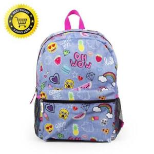 bc211fca73 Image is loading Emoji-Little-Girls-School-Backpack-Cartoon-Book-Bag-