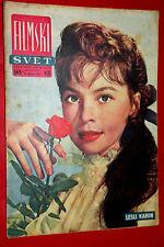LESLIE CARON WITH ROSE ON COVER 1957 MEGA RARE EXYU MOVIE MAGAZINE