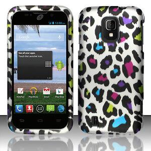 Straight-Talk-ZTE-Majesty-796C-Rubberized-HARD-Case-Snap-Cover-Rainbow-Leopard