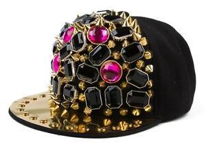 NEW-Blingbling-Unisex-Jewel-Rhinestone-Spikes-Studded-Caps-Hip-Hop-Hats-Snapback