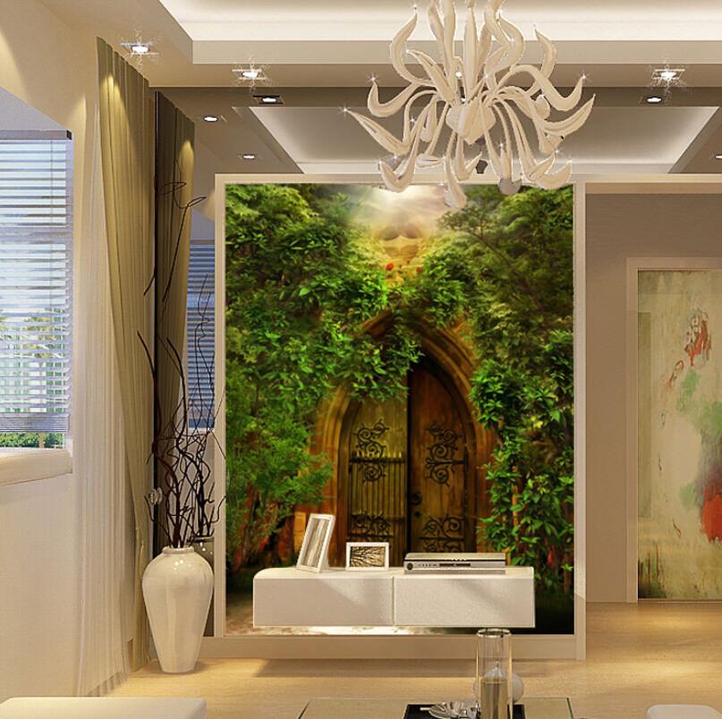 3D Green Rattan Door 7 Wall Paper Murals Wall Print Wall Wallpaper Mural AU Kyra
