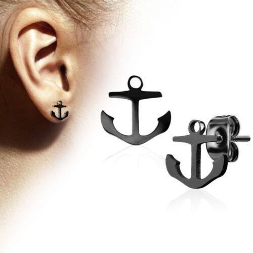 Paire boucles d/'oreilles clous ancre marine noir