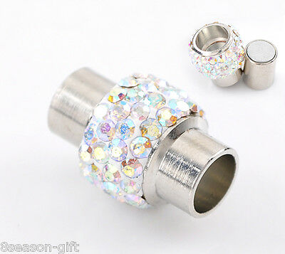 """2 Sets Silver Tone AB Color Rhinestone Magnetic Clasps 17x12mm(5/8""""x4/8"""")"""