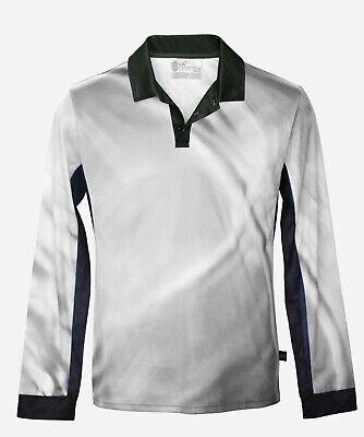 Mens Blue Ripple Polo UPF50 Shirt Top Long Sleeve