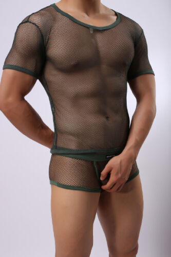 shirt Boxer Trasparente T Kaki Ensemble S Sexy Taglia Sheer Neofan Rᄄᆭsille PZiXTOku