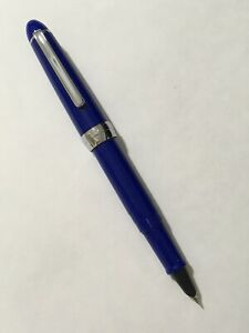 JINHAO-992-BLUE-CHROME-TRIM-EXTRA-FINE-NIB-FOUNTAIN-PEN-CONVERTER-UK-SELLER