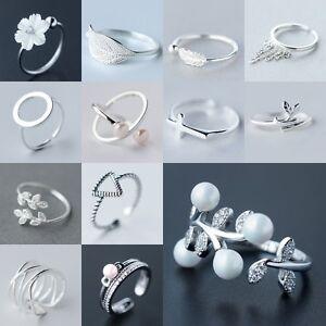Chic-S925-Soild-Silver-Retro-Lovely-Flower-Open-Adjustable-Sterling-Ring