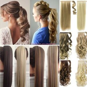 US-100-Real-New-Clip-In-as-human-Hair-Extension-Pony-Tail-Wrap-Around-Ponytail