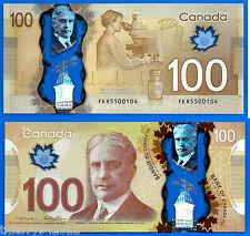 Canada 100 Dollars 2011 Polymer Prefix FKR Dollar Borden Free Shipping Worldwide