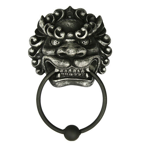 Delicieux Oriental Chinese Mulan Lion Dragon Door Knocker Statue Ball Metal Ring