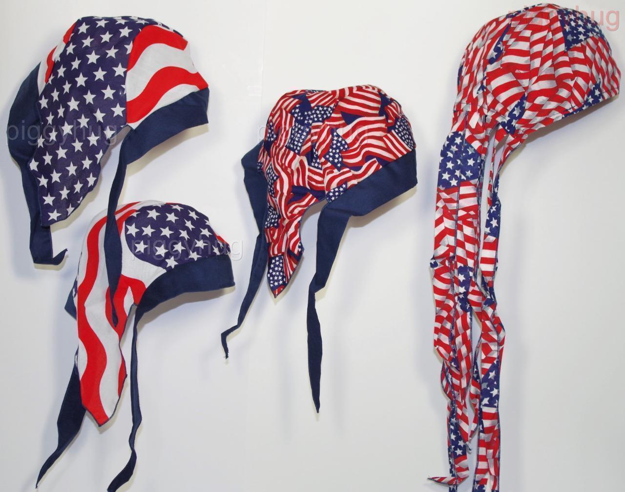 skull cap rag hat do du doo rag cap  American USA flag sweat band  USA made long tail a7c864